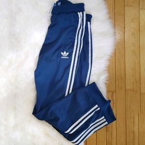 Adidas 3 Stripes Track Pants Blue and White